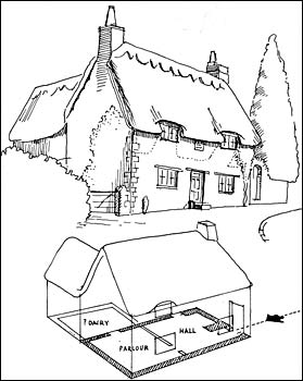 Artists Drawing Of Elm Tree Cottage Plan